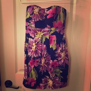 NWT strapless dress. Black floral.